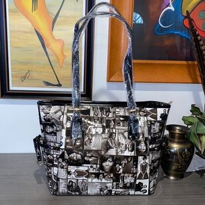 New: MICHELLE OBAMA Shiny Patent Leather Tote Bag